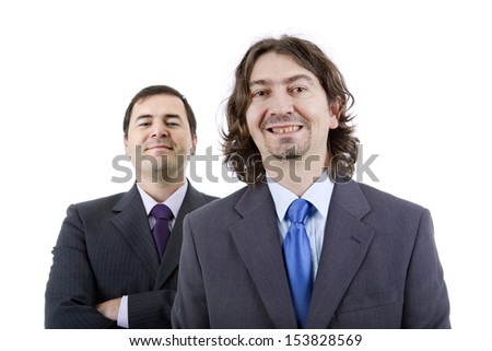 two silly young business men portrait on white