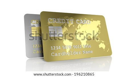 Two silver and gold credit cards isolated on white