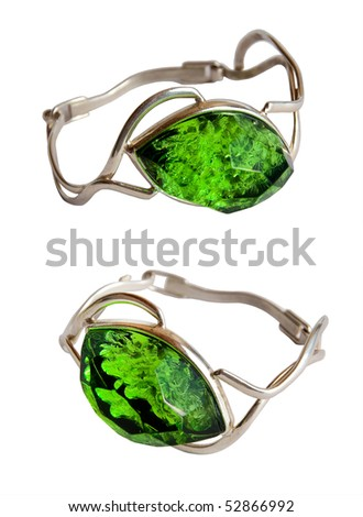 Two Silver braslets green stone on a white background - stock photo