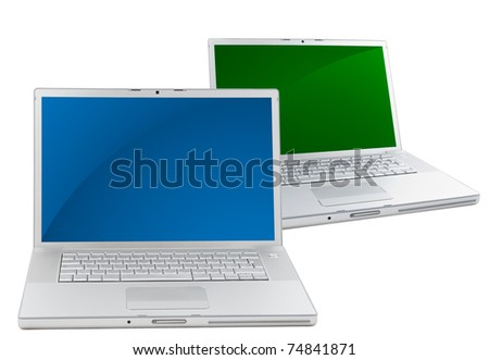 Two Silver portable computers. Front view. - stock photo