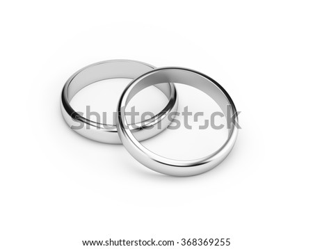 Two silver wedding rings  isolated  on white background. Symbol for marriage, love, relationships, proposals, valentine's day, engagement etc... Clipping path included.