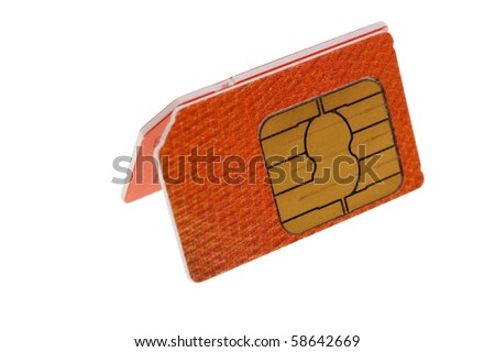 two SIM cards composition isolated on white - stock photo