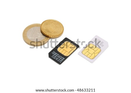 Two SIM cards for cellular phones and euro cents isolated - stock photo
