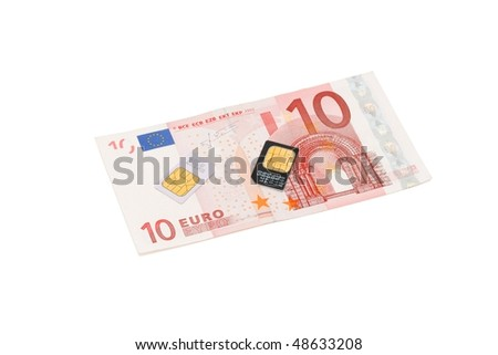 Two SIM cards for cellular phones on euro bill isolated - stock photo