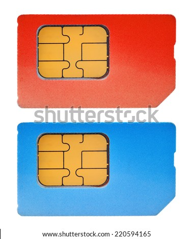two sim cards isolated on white background - stock photo