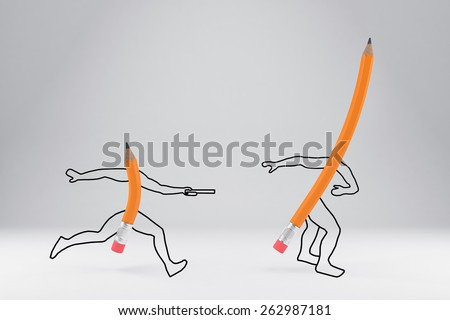 Two simple pencils at different stages of use - stock photo