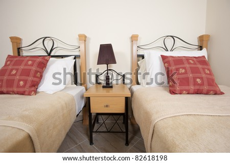 Two single beds in a twin bedroom showing interior decor and design