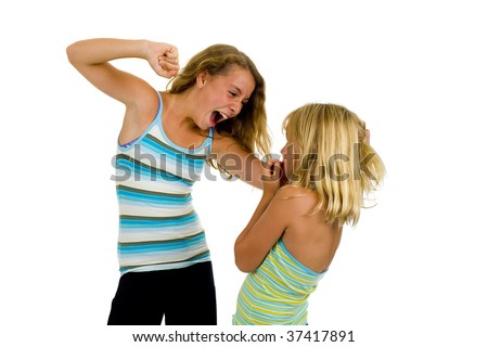 two sister girls having a fight, isolated on white - stock photo