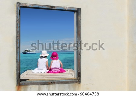 two sister girls view window sit tropical sea turquoise Formentera [Photo Illustration]