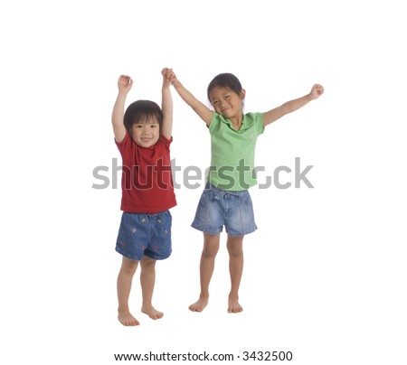Two sisters barefoot with shorts....joking around. family, friends, growing up - stock photo