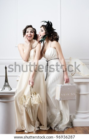 Two sisters brides having fun - stock photo