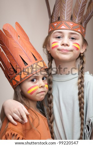 Two sisters dressed as Indians