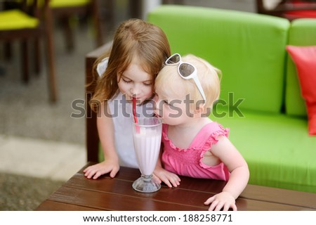 Two sisters drinking milkshake in outdoor cafe - stock photo