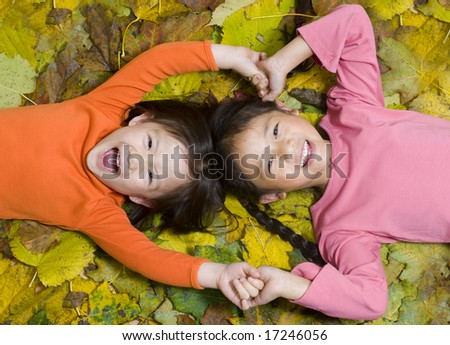 Two sisters playing in the autumn leaves - stock photo
