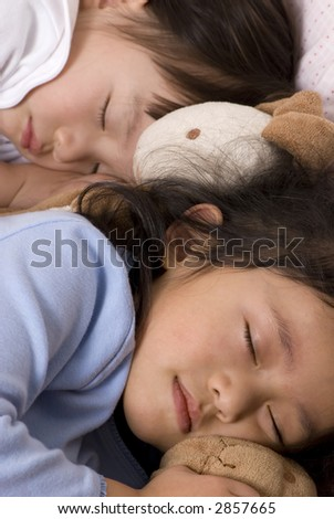 Two sisters sound asleep with their stuffed animals.