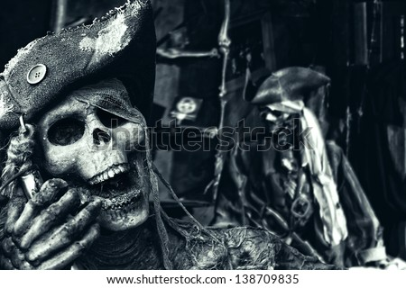 Two Skeleton Pirates Portrait - stock photo