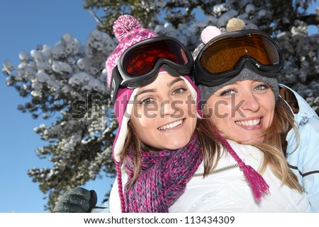 Two ski friends - stock photo