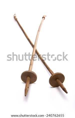Two ski pole stick isolated white at the studio. - stock photo
