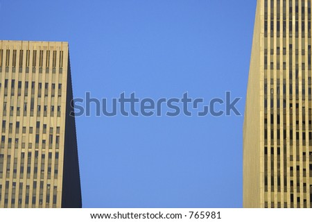 Two skyscrapers side by side, manhattan, new york, america, usa - stock photo
