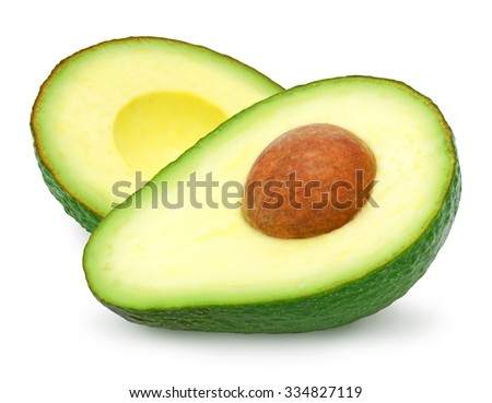 Two slices of avocado isolated on a white background. One slice with core. Design element for product label, catalog print, web use. - stock photo