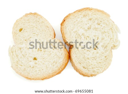 Two slices of baguette - stock photo