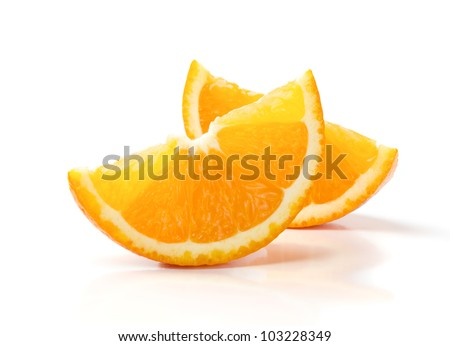 Two Slices of Orange Isolated on White Background - stock photo