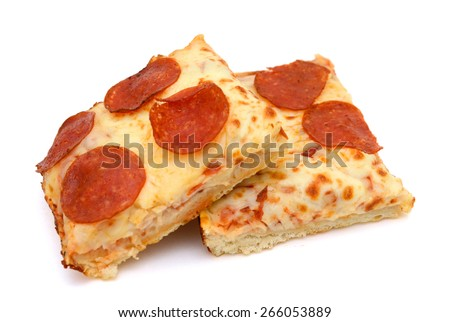 two slices of pepperoni pizza on white background  - stock photo