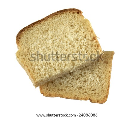 Two slices of wheat bread isolated over white background