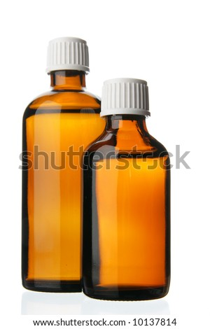 Two small bottles with drug isolated over white background - stock photo
