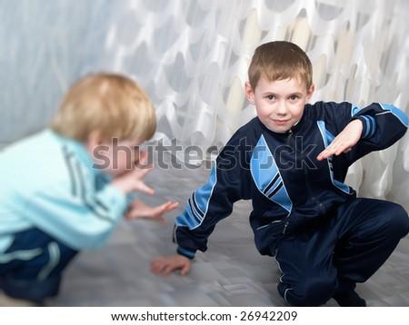 Two small boys - stock photo