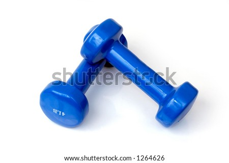 Two small female blue weights isolated on white - stock photo