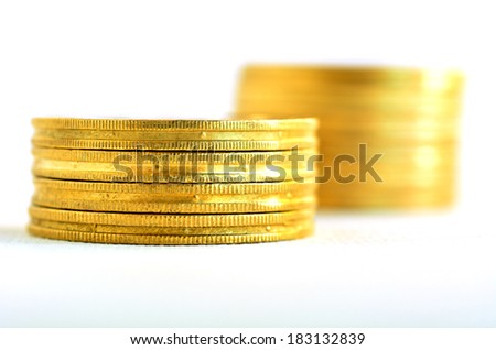Two small Golden gold coins stacks isolated on white background. Concept photo of bank, money, banking, finance, economy,  saving and loans (Isolated on white background) - stock photo