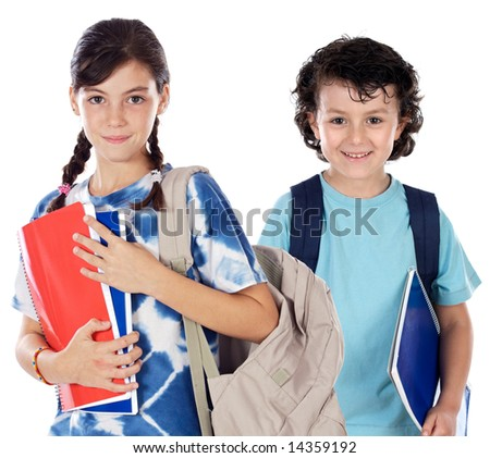 Two smalls students a over white background - stock photo