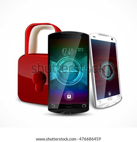Two smartphone with a fingerprint and a padlock ,concept of privacy and safety. 3D illustration