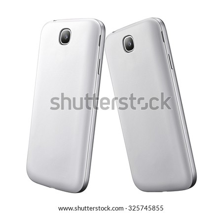 two smartphones isolated on white - stock photo