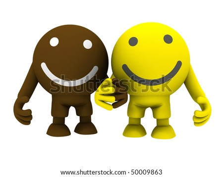 Two smileys holding hands. Isolated on white. Concept render - stock photo