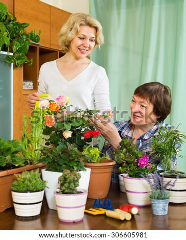 Two smiling aged women near table with many decorative flowerpots