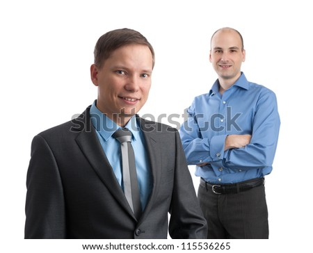 two smiling businessmen isolated on a white background