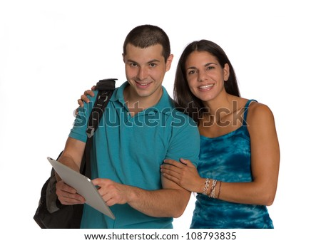 Two Smiling Casual Dressed College Student Holding Tablet Touch Pad on Isolated White Background