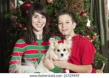 Two smiling children in front of a Christmas tree holding their little pet dog. - stock photo