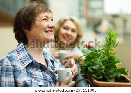 Two smiling female pensioners drinking tea on balcony  - stock photo