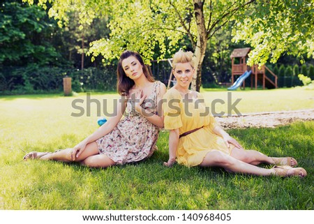 Two smiling women - stock photo