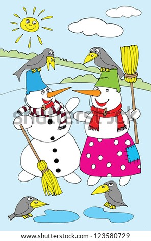Two snowman standing in the snow. Cartoon - stock photo