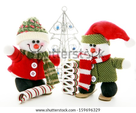 Two Snowmen - stock photo