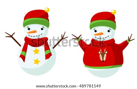 Two snowmen in warm clothes. Raster clip art.