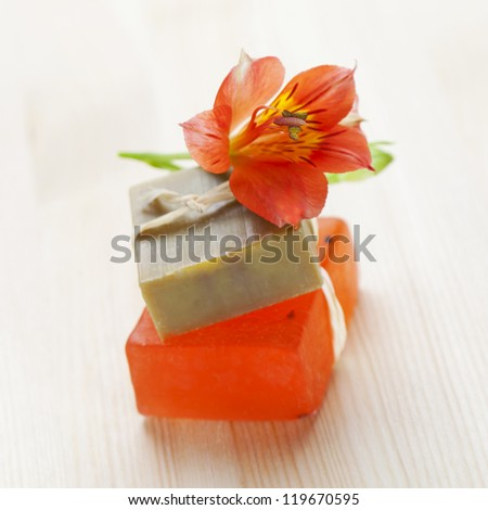Two soap bars with natural ingredients - stock photo