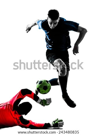 two  soccer player goalkeeper men competition in silhouette isolated white background - stock photo