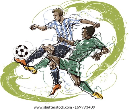 Two soccer players trying to kick a soccer ball. - stock photo