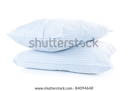 Two soft pillows with blue striped covers isolated on white background - stock photo