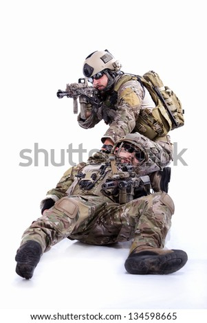 Two soldiers on a white - stock photo